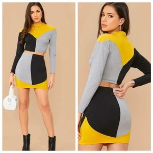 Mock Neck colorblock top and bodycon skirt set